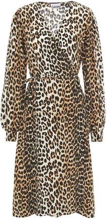 Leopard-print Crepe De Chine Wrap Dress