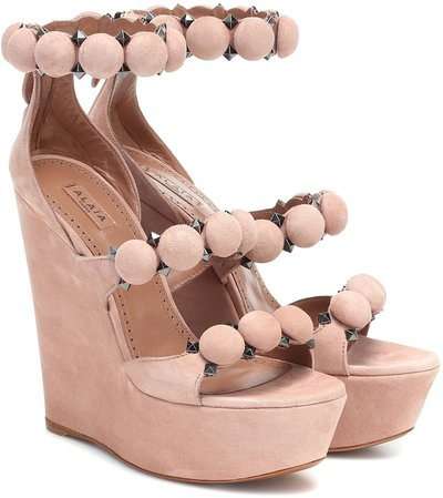 Bombe suede wedge sandals