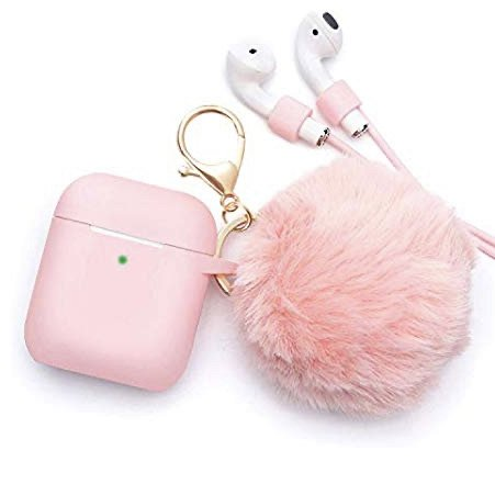 Pink AirPods with fluffy ball