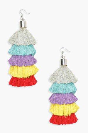 Rainbow Tiered Tassel Earring | Boohoo