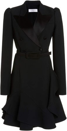 Michael Kors Collection Belted Crepe Coat Dress