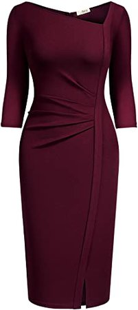AISIZE Women's Retro Classy V-Neck Stretch Business Wrap Bodycon Dress at Amazon Women's Clothing store
