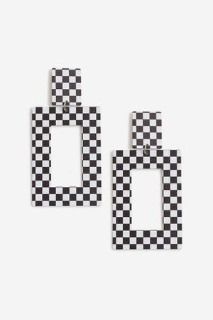Checker Board Drop Earrings   Topshop