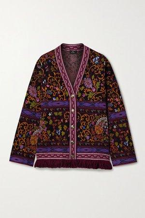 Fringed Jacquard-knit Cardigan - Black