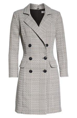 Chelsea28 Plaid Long Sleeve Blazer Dress grey