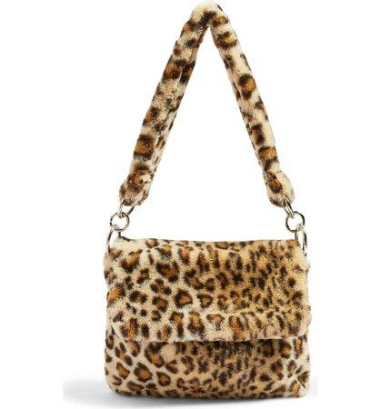 Topshop Teddy Leopard Print Faux Fur Shoulder Bag | Nordstrom