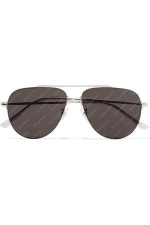 Balenciaga   Invisible printed aviator-style silver-tone sunglasses   NET-A-PORTER.COM