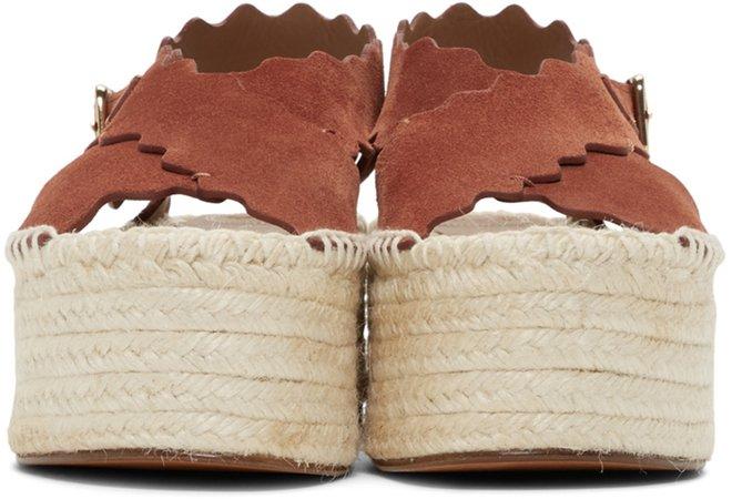 Chloé: Red Suede Platform Sandals | SSENSE