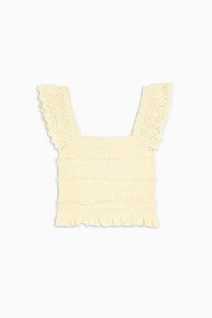 Yellow Shirred Frill Sleeve crop Top | Topshop