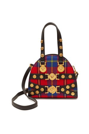 Versace - Tribute Tartan Leather Handbag - multicolored