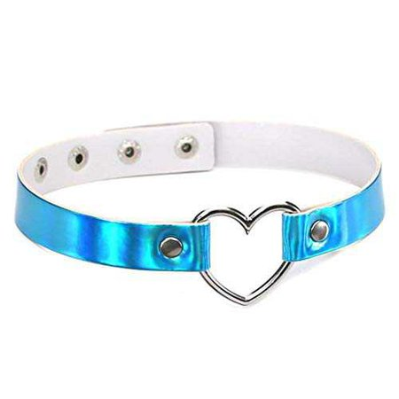 Amazon.com: DARLING HER PU Leather Choker Neckla Women Holographic Choker Heart Metal Laser Collar Chocker Fashion Jewelry blue: Clothing
