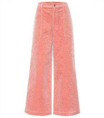 Stretch corduroy wide pants