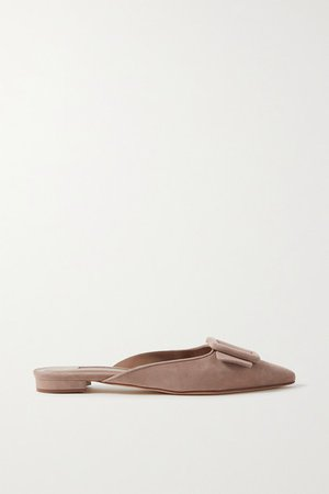 Maysale Buckled Suede Point-toe Flats - Tan