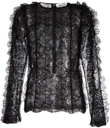 ruffled lace long sleeve top