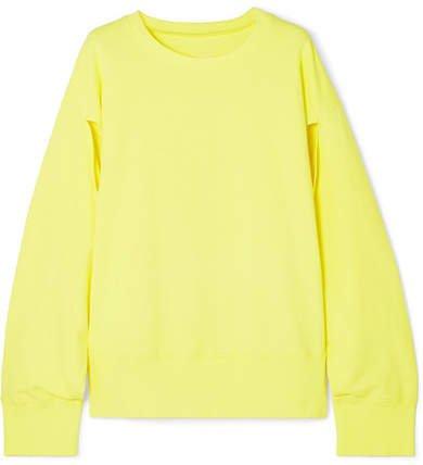 Cutout Cotton-jersey Sweatshirt - Chartreuse