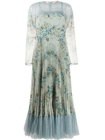 RedValentino Pleated Floral Print Lace Trim Dress - Farfetch