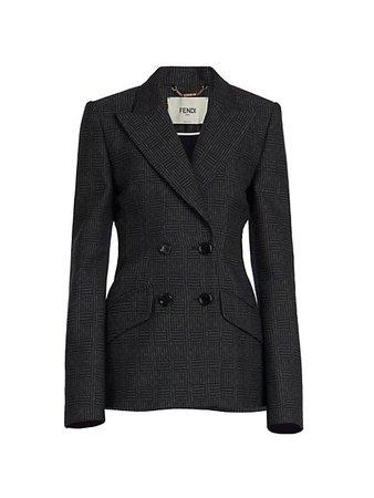 Fendi Herringbone Double Breasted Wool Blazer   SaksFifthAvenue