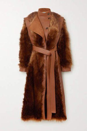 Belted Vegetarian Leather And Faux Fur Coat - Brown