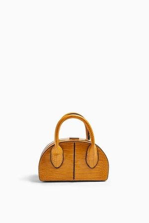TINY Mustard Crocodile Frame Mini Bag | Topshop