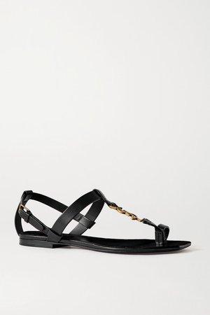 Cassandra Logo-embellished Leather Sandals - Black