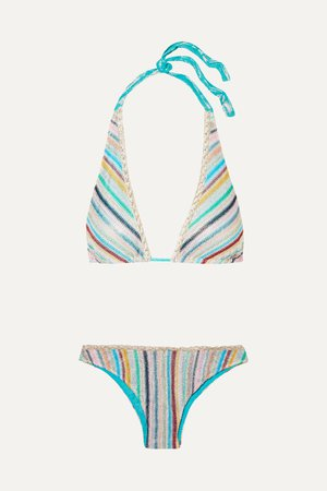 Blue Mare metallic crochet-knit triangle bikini | Missoni | NET-A-PORTER