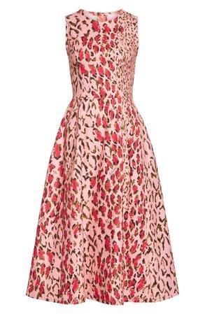Carolina Herrera Leopard A-Line Midi Dress | Nordstrom