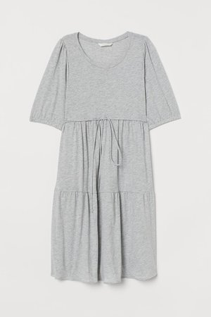 MAMA Cotton Jersey Dress - Light gray melange - Ladies | H&M US