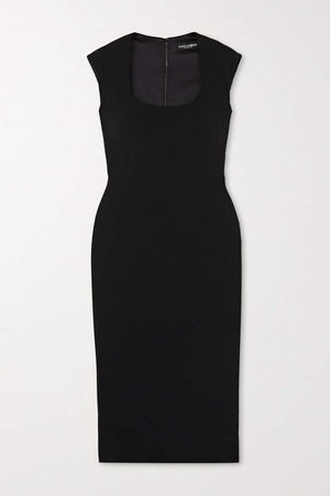 Crepe Midi Dress - Black