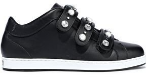 Ny Embellished Leather Sneakers