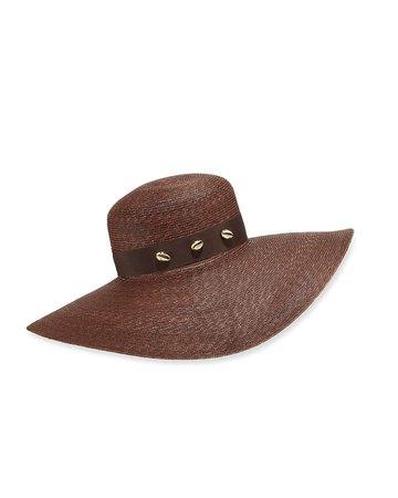 Jane Taylor Large Brimmed Straw Hat w/ Brass Shells | Neiman Marcus