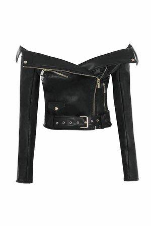 off shoulder leather jacket - Google Search
