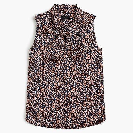 J.Crew: Petite Drapey Tie-neck Sleeveless Top In Leopard