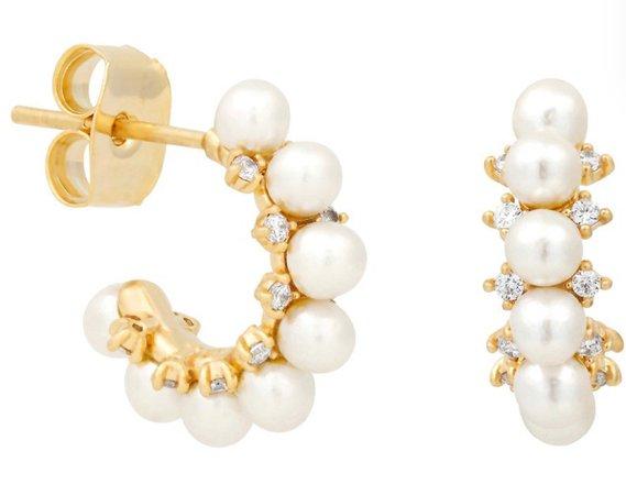 Gold Diamond Pearl Hoop Earrings