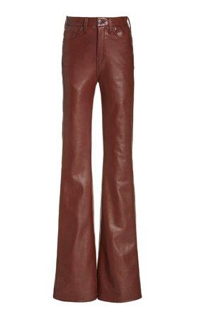 Beverly Vegan Leather High-Rise Flared Jeans by Veronica Beard   Moda Operandi