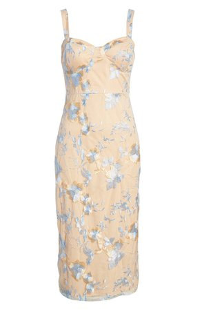 Lulus Watch Me Embroidered Bustier Sheath Midi Dress | Nordstrom
