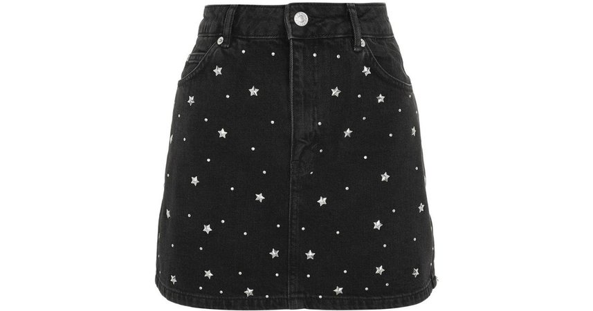 black denim starry skirt