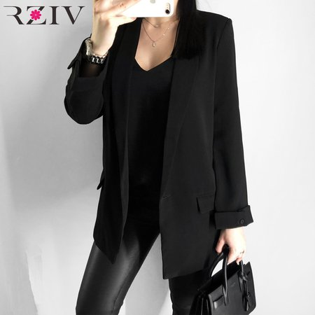 RZIV Spring women's blazer suit jacket coat casual solid color single button coat OL blazer suit-in Blazers from Women's Clothing on Aliexpress.com | Alibaba Group