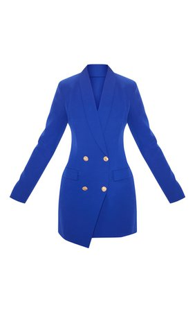 Navy Gold Button Blazer Dress | Dresses | PrettyLittleThing USA