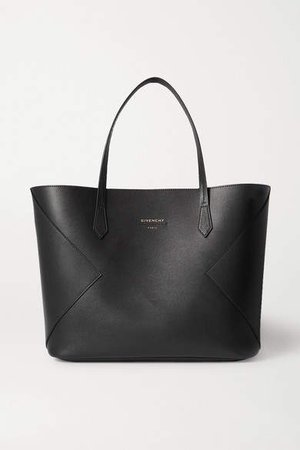 Wing Paneled Leather Tote - Black