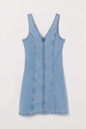 Short Denim Dress - Blue