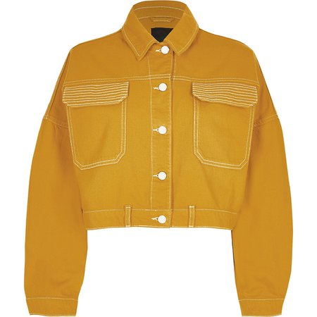 Dark yellow cropped denim jacket - Jackets - Coats & Jackets - women