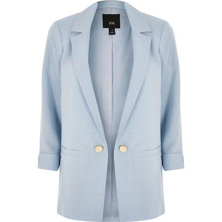 Blue turn-up sleeve blazer | River Island