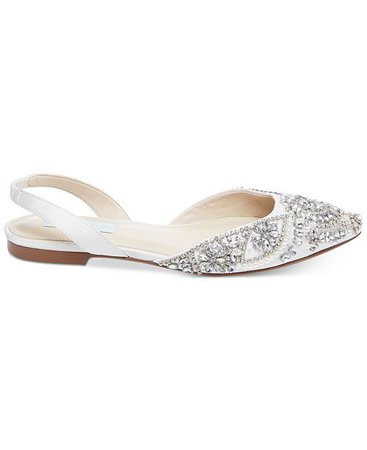 Blue by Betsey Johnson Women's Molly Evening Flats in Ivory Satin - Macy's