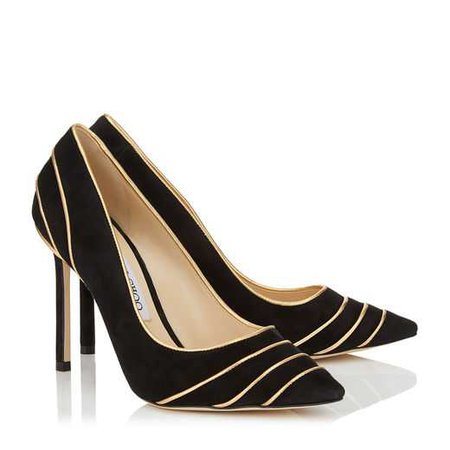 Black Suede Pointy Toe Pumps with Gold Metallic Nappa Leather Piping | ROMY 100 | Autumn Winter 18 | JIMMY CHOO