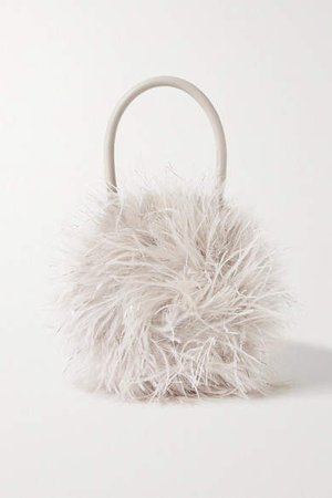 Zadie Feather-embellished Leather Tote - Off-white