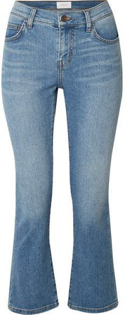 The Scooped Ruby Cropped Mid-rise Straight-leg Jeans - Light denim