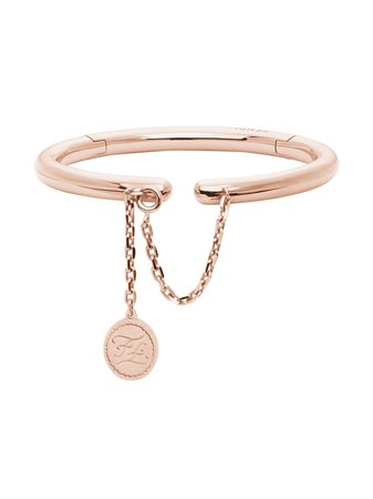 Fendi Rigid Rose Gold-Coloured Bracelet | Farfetch.com