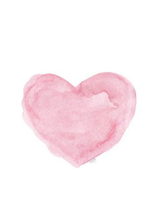 Watercolor Pink Heart Print