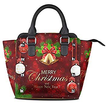 AmazonSmile: Use4 Merry Christmas Bell Shimmer Red Rivet PU Leather Tote Shoulder Bag Purse: Clothing