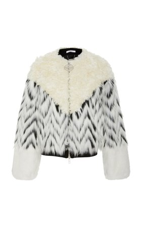 Paneled Shearling And Faux Fur Bomber Jacket by Givenchy | Moda Operandi